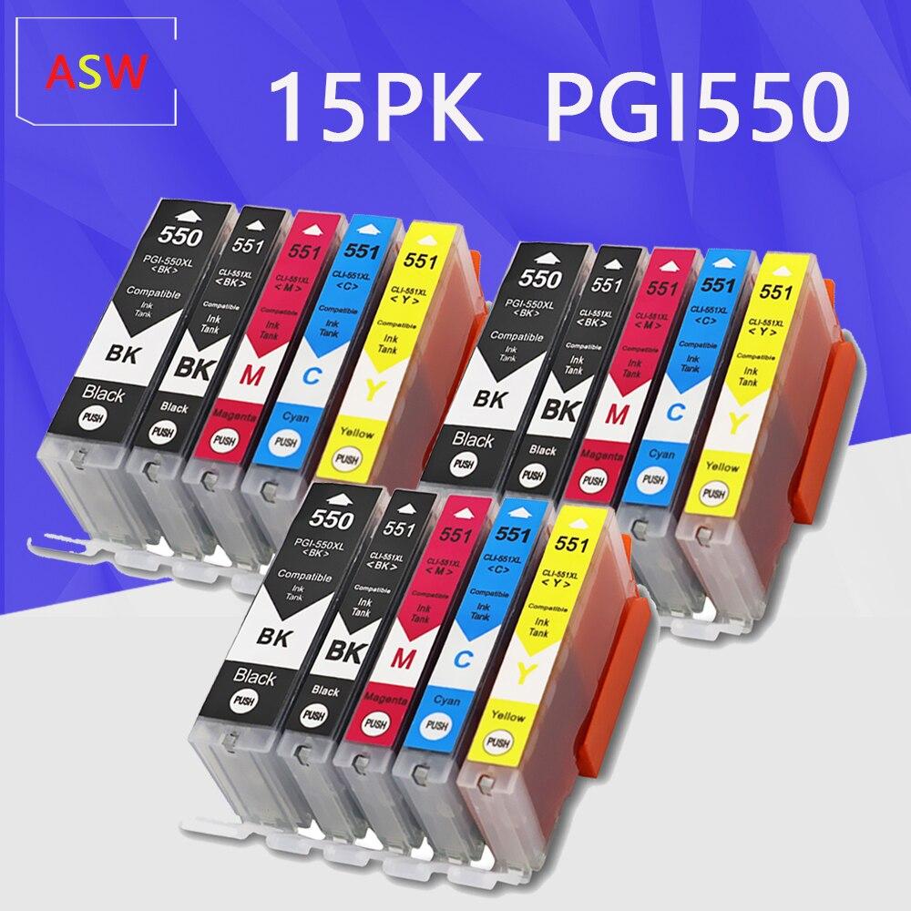 15 шт. PGI550 CLI551 совместимые чернильные картриджи для Canon MG6350 MG7150 IP8750 Ip7250 принтеры PGI-550 CLI 551 PGI-550 CLI-551