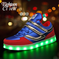 Luminous Sneakers for Boys Glowing Sneakers with Light Kids Led Shoes USB Illuminated Krasovki Led Light Up Sneakers Size 26 37|Sneakers|Mother & Kids -