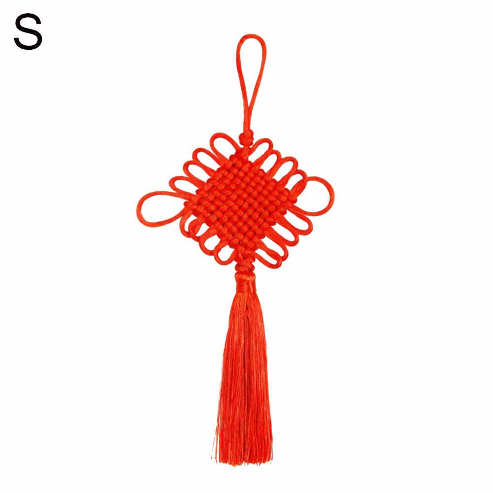 Mão-tecido nó chinês ano novo ornamento do feriado pendurado pingente decoração para casa acabamento fino, mão-tecido bonito nó chinês