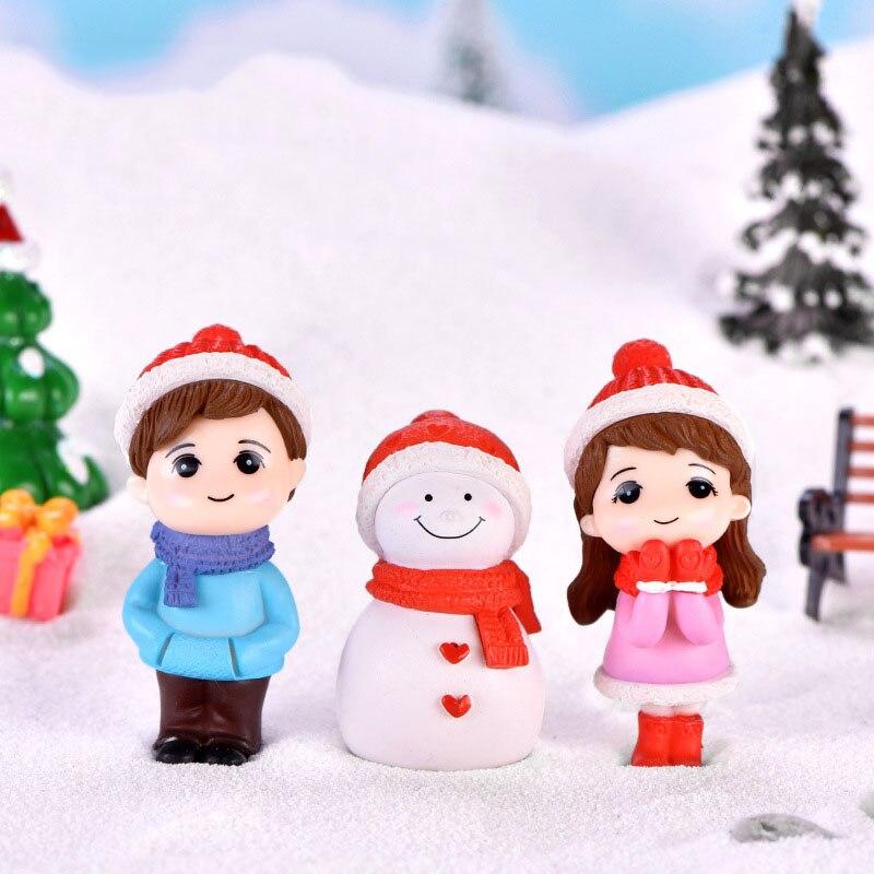 Christmas Decoration Miniature Ornament Figurines Santa Claus Snowmen Fairy Garden Dollhouse Home Decor Accessories