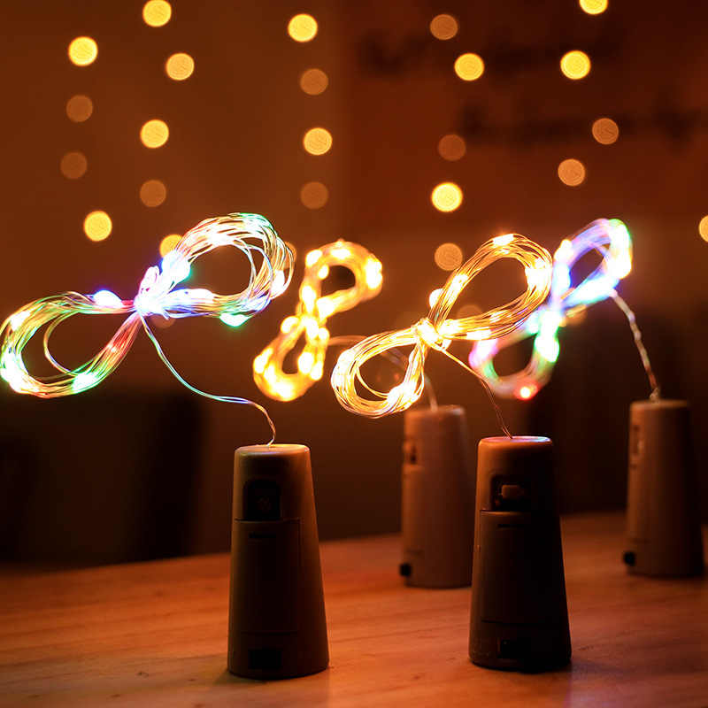 1m 2m 3m Copper Wire LED String Lights Garland Bottle Stopper for Glass Craft New Year Christmas Decorations for Home Navidad.