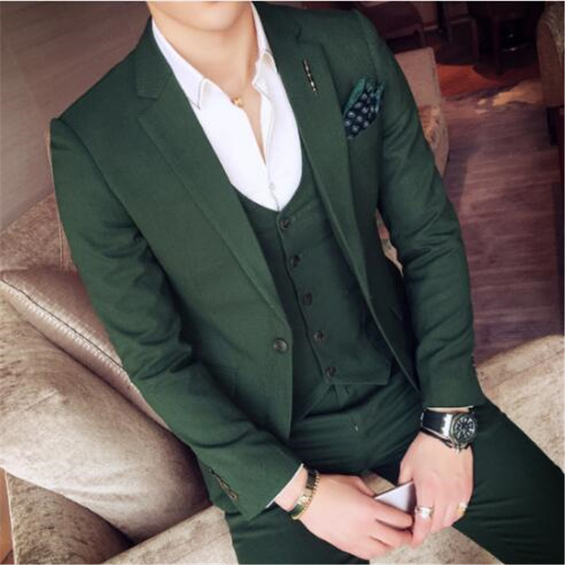 New Green Business Men Suits 3 Pieces(Jacket Pant Vest Tie) High Quality Slim Fit Blazer Formal Prom Terno Clothes Fashion