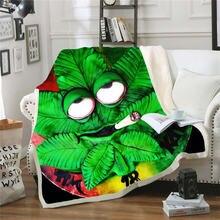 Одеяло для кровати в стиле Триппи с принтом Листьев Сорняков