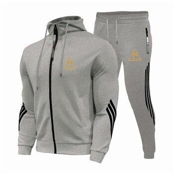2 Pieces Sets Tracksuit Men's Sets Print Men Hooded Sweatshirt+pants Pullover Hoodie Sportwear Suit Casual Sports Men Clothes 6