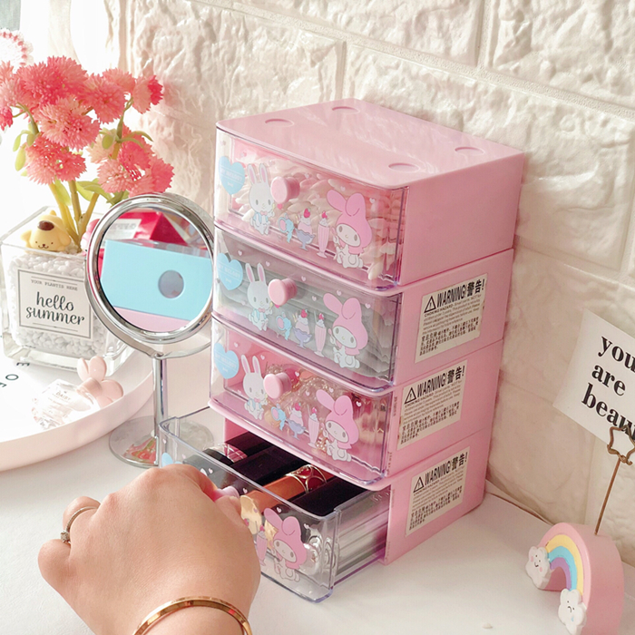 Lovely My Melody Twins Stars Storage Cabinet Drawer Cosmetics Makeup Stationery Organizer Plastic Organiser Drawers Storage Box