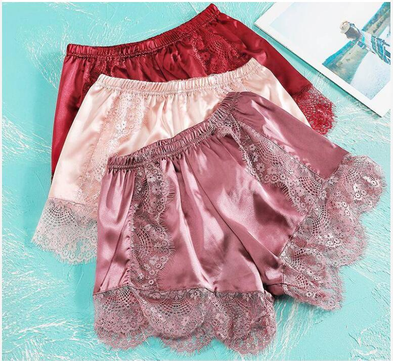 2pcs Womens Bottoms Sleep Shorts Sexy Spring Summer Lace Sleepwear Plus Size Silk Pants Stain Pajama Shorts Night Pants 40-80kg