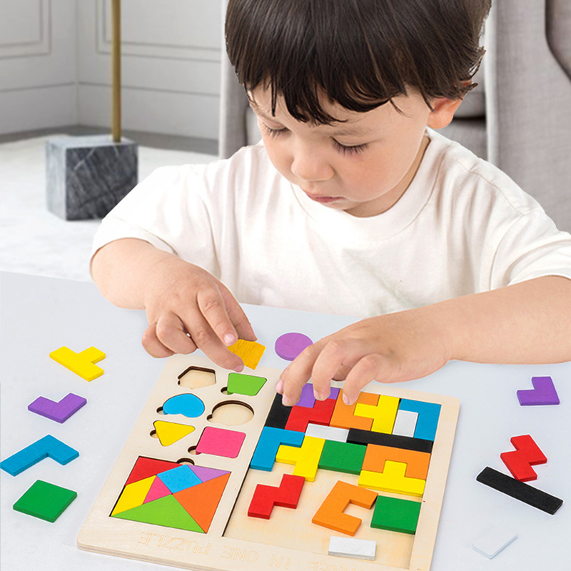 3 in 1 3D Puzzle Wooden Tangram Children Pre-school Magination Intellectual Educational Math Toys Game Puzzle Bloacks for kids 2