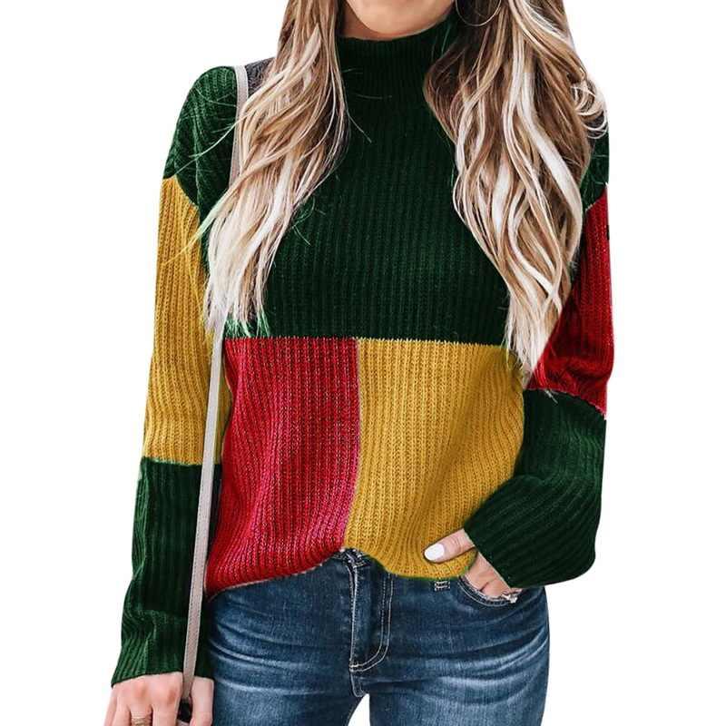 DIHOPE 새로운 가을 겨울 패션 여성 니트 격자 무늬 패치 워크 스웨터 터틀넥 긴 소매 스웨터 여성 캐주얼