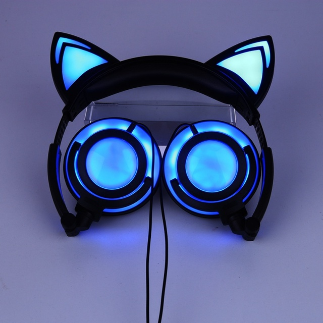 ZL  Glowing Cat Ear Headset Laptop Wired Headset With Mirophone Portable Audio And Video Device