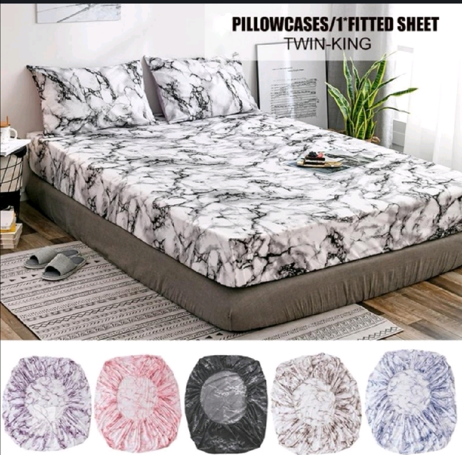 Elastic Fitted Sheet Deep Pockets Up To 14 Inches Marble Printed Brushed Microfiber Mattress Covers Set