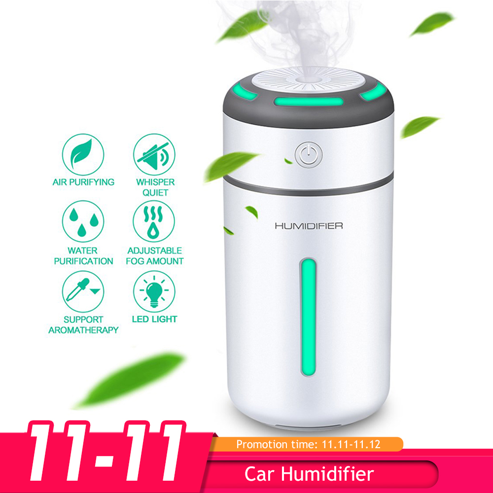Mini Car Air Purifier Humidifier for Car Home Desktop Pm2.5 7Colors Lamp Aromatherapy USB Charging Auto Mist Air Freshener