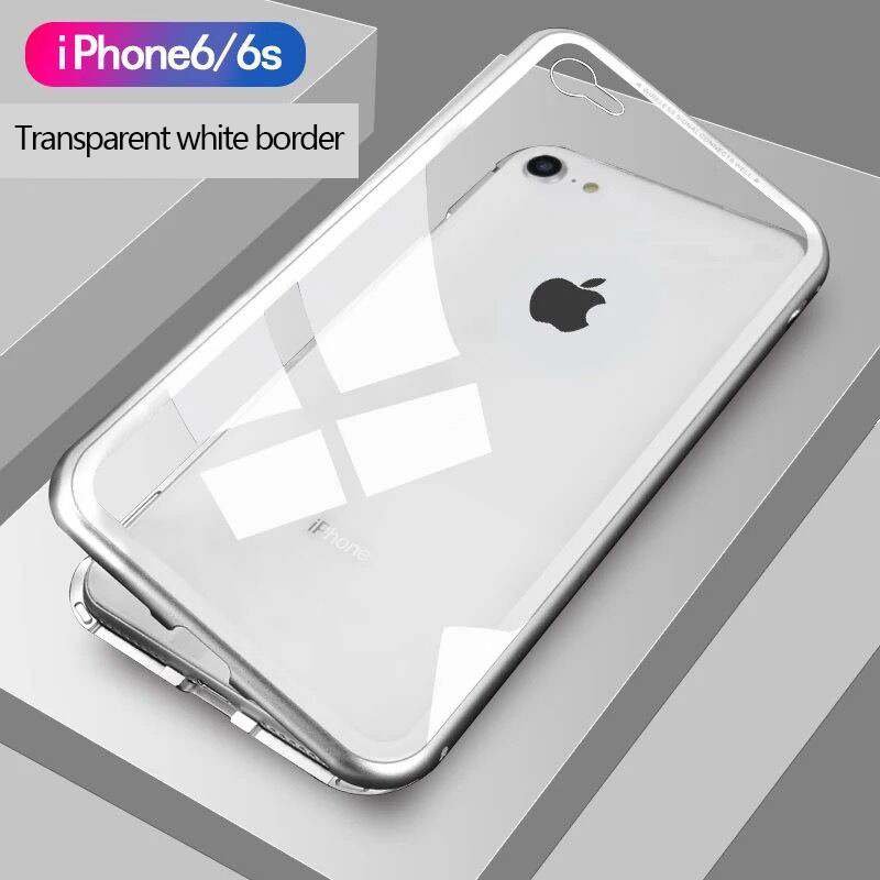 360 Full Coverage Metal Magnetic Case For iPhone XS X XR 6 8 7 Tempered Glass Back Case For Samsung Galaxy S8 S9 S10 E Note 8 9 image