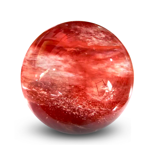 الحجر الطبيعي الصهر الأحمر الجميل مزين كرة من الكوراتز مكتب المنزل لالهالة الهالة شفاء حجر الطاقة