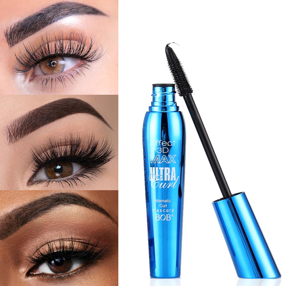 2019 BOB 3D  Thick And Long Natural Mascara 4D Waterproof Easy To Dry Black Eye Makeup Mascara Anti-stun Lash Growth Liquid