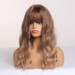 Image 2 - Easihair ブラウンブロンドオンブル合成波前髪ミディアムの長さと女性のためのウィッグ波状コスプレヘアウィッグ熱にくい