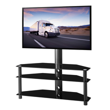 Swivel Floor TV Stand with Mount 3-in-1 Flat Panel Height Adjustable Glass Entertainment Stand 32 -65 inch TV 3-Tier Media Stand