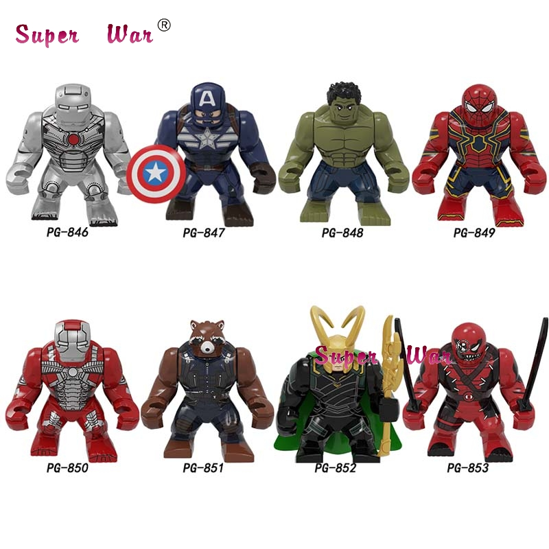 Single Marvel Avengers Big 7cm Captain America Loki Deadpool Iron Man Hulk Drax SpiderMan Black Panther Building Blocks Kid Toys