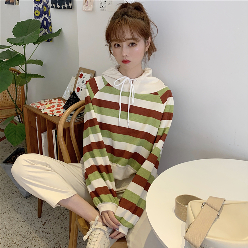autumn style sweet long sleeve new hoodies and pullover striped hooded Drawstring crop top Women's Clothing Korean Ladies hot 15