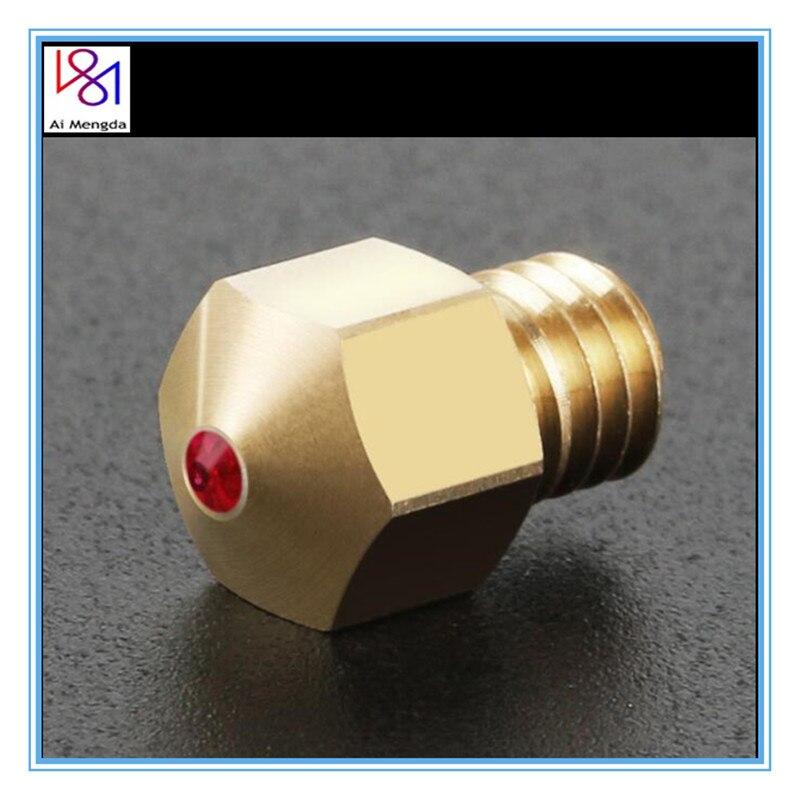 1 шт. 3D-принтеры Запчасти 0,4 мм 1,75 мм MK8 красный распылитель драгоценный камень 3D сопло экструдера для PETG из АБС-пластика для домашних животны...