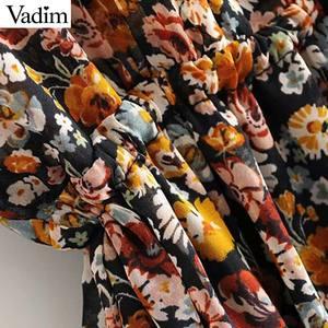 Image 5 - Vadim femmes rétro en mousseline de soie motif floral mini robe col en V nœud papillon ceintures transparent à manches longues femme robes décontractées QD155