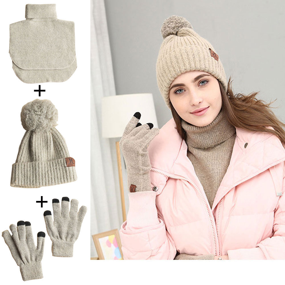 3 In 1 Women Soft Warm Thick Cable Knitted Hat Scarf (Shawl) Gloves Winter Set Winter Accessories Hat And Scarf Set For Women