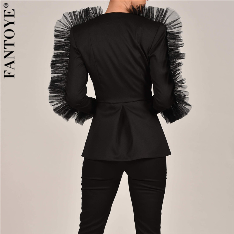 FANTOYE New Fashion Lace Ruffle Two Piece Set Women V Neck Jacket Suits 2 Piece Women's Set 2019 Autumn Elegant Celebrity Suit