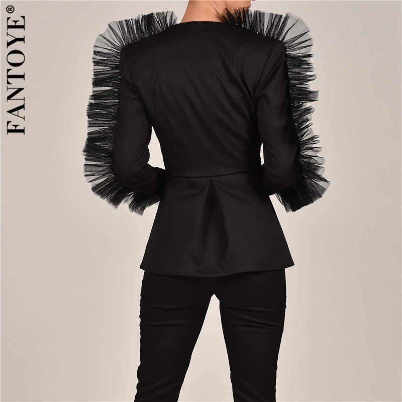 FANTOYE yeni moda dantel fırfır iki parçalı Set kadın V yaka ceket takım elbise 2 parça kadın seti 2019 sonbahar zarif ünlü takım elbise