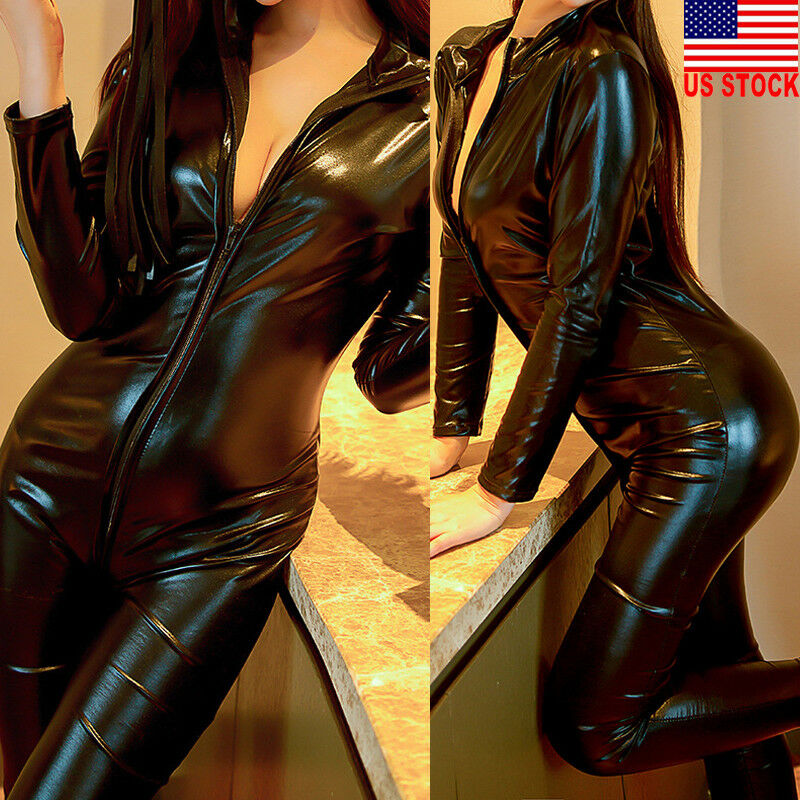 Women  PU Long Sleeve  Jumpsuit Leotard Zip Catsuit Black Slim Jumpsuits