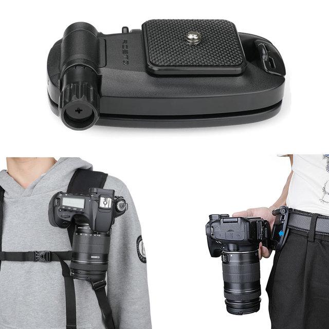 مشبك كاميرا الإفراج السريع على ظهره كليب الحافظة شماعات حزام سريع حزام خصر زر مشبك لكاميرا oomo جيب/عمل DSLR
