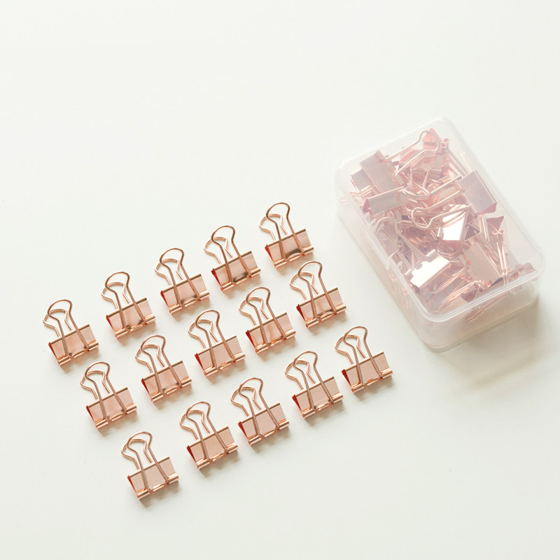 TUTU 18pcs Fashion Rose Gold Color 19mm Binder Clip Hollow Out Binder Clips Photos Tickets Notes Letter Paper Clip H0331