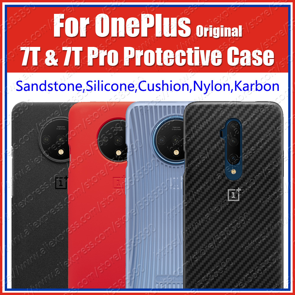 HD1903 Official Oneplus 7T Case Silicone Cushion Bumper (100% Original) Oneplus 7T Pro Sandstone Nylon Karbon Cover