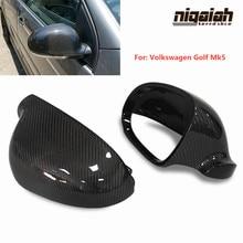 цена на Carbon Fiber Side Mirror Cover For Volkswagen VW Golf 5 MK5 Matogan 2006-2011 Lavida MK6 Wagon 2005-2007 Rear View Mirror Caps