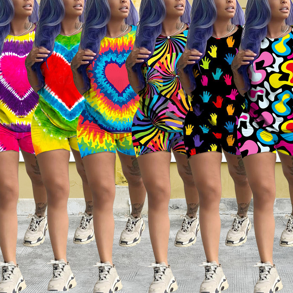 2 Piece Women Short Set Summer 2020 New Tracksuit Tie Dye Print Club Outfits Sexy Birthday Party Jogging Two Piece Matching Set