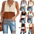 Kuelawear Casual Sleeveless Vest Stitching Loose Women's Tank Top Summer Fashion Ladies Tops U-neck Solid Color Sport T-shirt