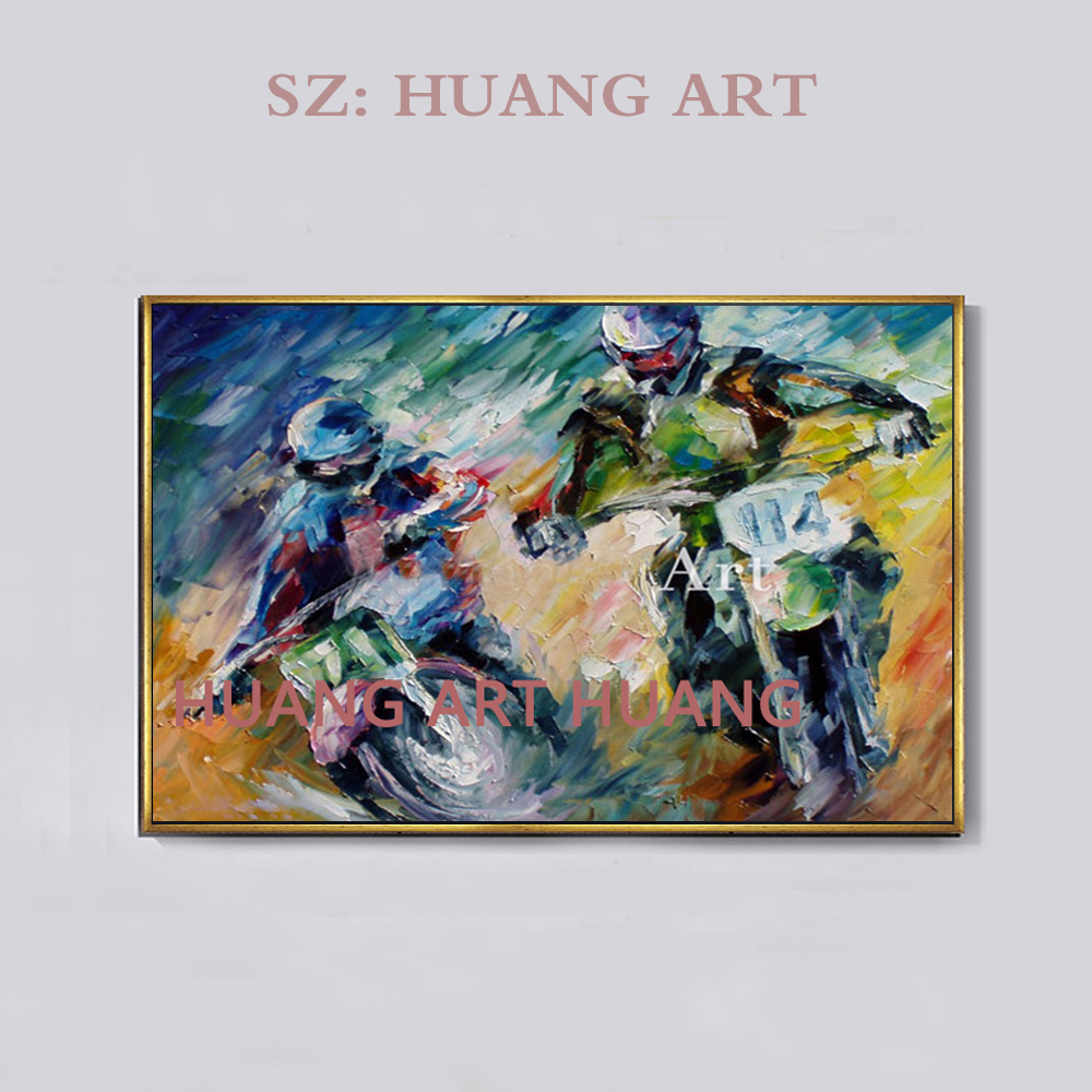 Modern oil painting by hand characters couples the motorcycle canvas sitting room adornment and wall art posters