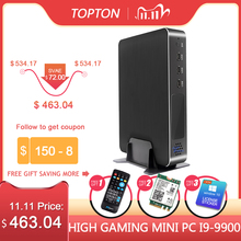 Topton New Gaming Computer MINI PC Corei9 9900 i7 9700 i5 9400F GTX 1650 4GB GDDR6 2*DDR4 Windows Mini PC M.2 NVMe 2*HDMI2.0 AC