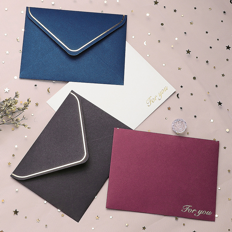10pcs/lot 13.6*10cm  Spot 4 Colors Gilding Blessing Simple Creative Card Envelope Envelopes For Invitations