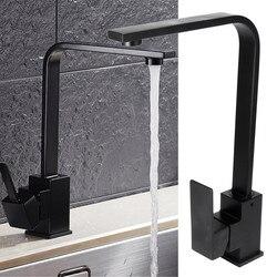 Для ванной для кухни для раковины смеситель холодной и горячей одной ручкой носик Кухня воды раковина кран смеситель для крана-сифона черна...