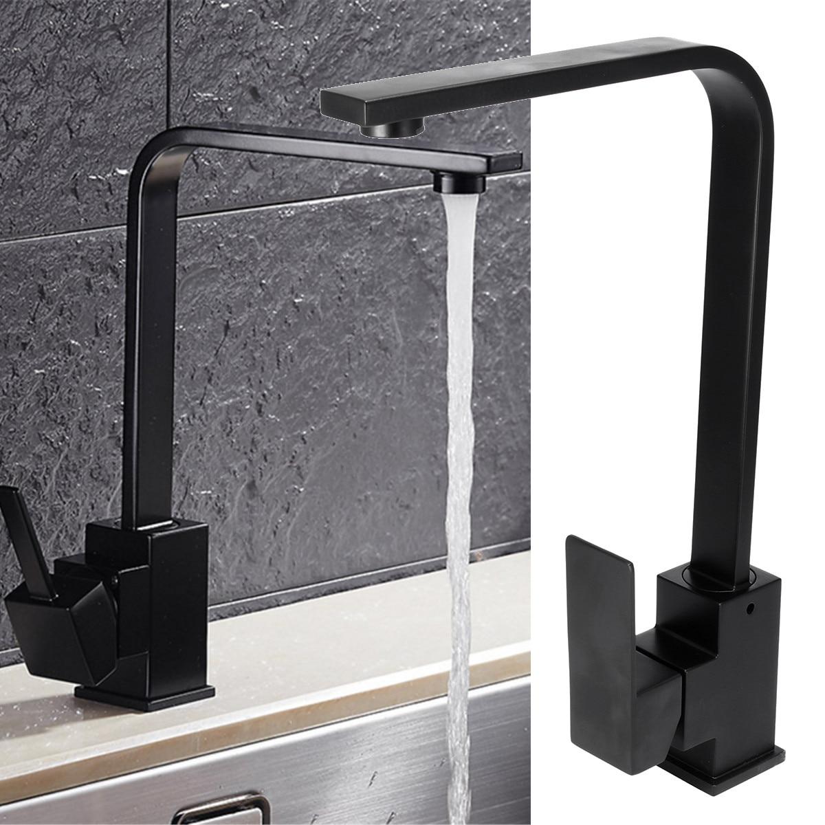 Cuisine salle de bains évier robinet mélangeur froid et chaud poignée unique bec cuisine évier mitigeur robinet robinets mat noir laiton