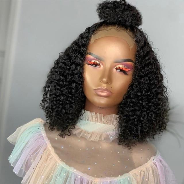 Pelucas de cabello humano con cierre de encaje 4x4 para mujeres negras, 150% Afro, rizado, BOB, Remy, nudos negros, pelo brasileño prearrancado