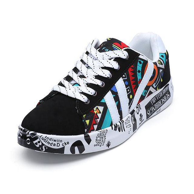 2019 Autumn Women Canvas Shoes Fashion Graffiti Casual Sneakers Woman Lace-Up Shallow Flat Ladies Vulcanized Shoes