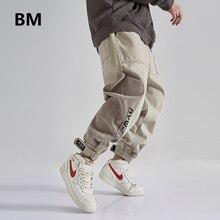 Corduroy Patchwork Casual Pants Hip Hop Cargo Trousers Men Clothing Streetwear Korean Velcro Joggers Fashion Sweatpants Male