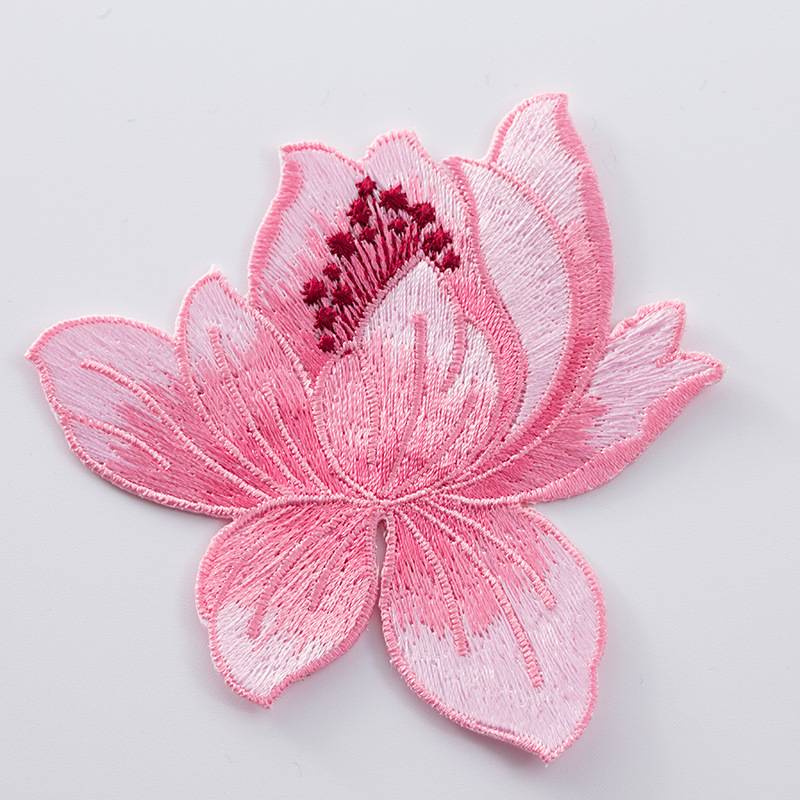 Direct Lotus Embroidered Cloth Cheongsam Decorative Backgel Ironing Patch Flower Accessories Repair Subsidy
