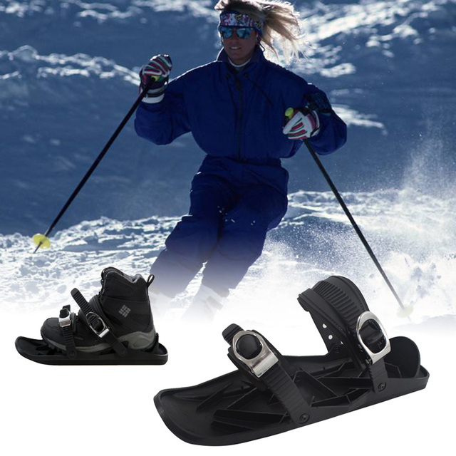 Ski Skates Snow Skiing Shoes Mini Short Skiboard Shoes with Adjustable Bindings Easy Storage Winter Mini Portable Snowboards