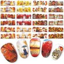 12 disegni Pendenza Autunno Unghie Artistiche Adesivi Modo Della Copertura Completa di Immagine Decalcomanie Del Chiodo di Trasferimento di Acqua Fogli di Bellezza Manicure BN505 516