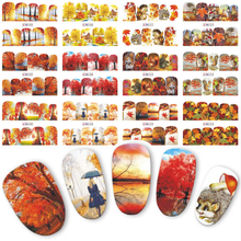 12 wzorów gradientowe jesienne naklejki do paznokci moda pełna okładka naklejki na zdjęcia folie do transferu paznokci folie wodne Beauty Manicure BN505 516