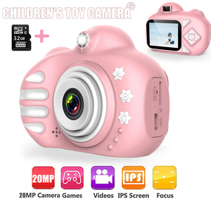 Kids Camera Cartoon Cute Flash 20MP HD Mini Digital Camera Children Toys Camera 2.4 inch IPS Screen For Child Birthday Gift