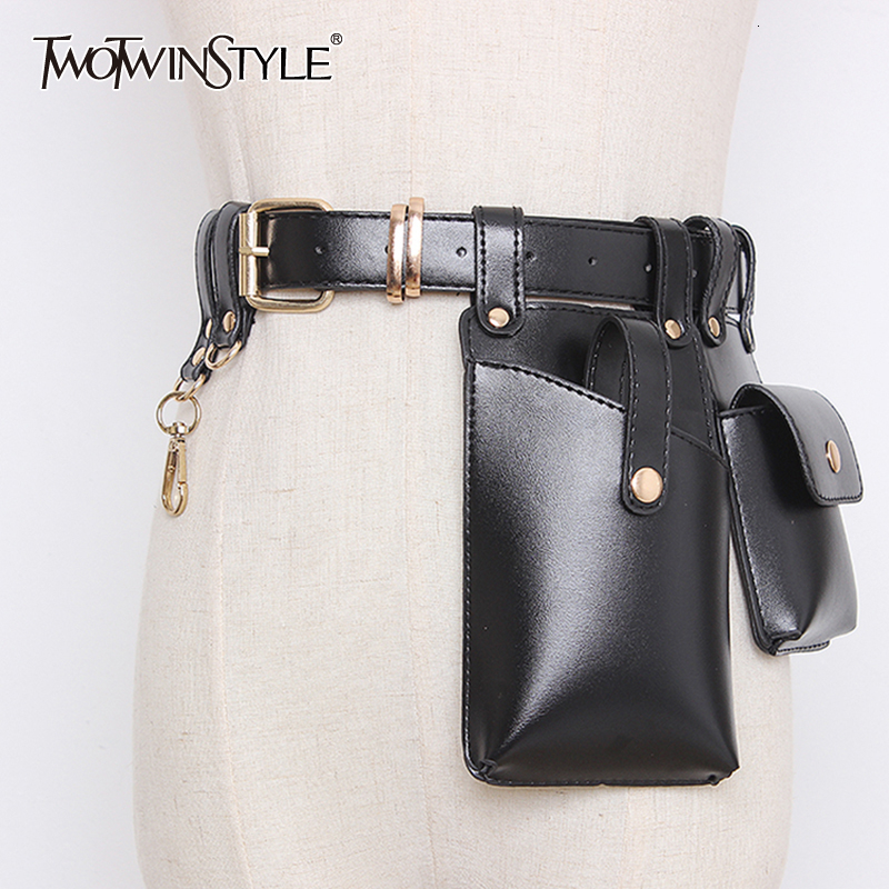 TWOTWINSTYLE Vintage Synthetic Leather Women's Belt Beading Hit Color Patchwork Bag Belts For Female Fashion Autumn 2020 Tide