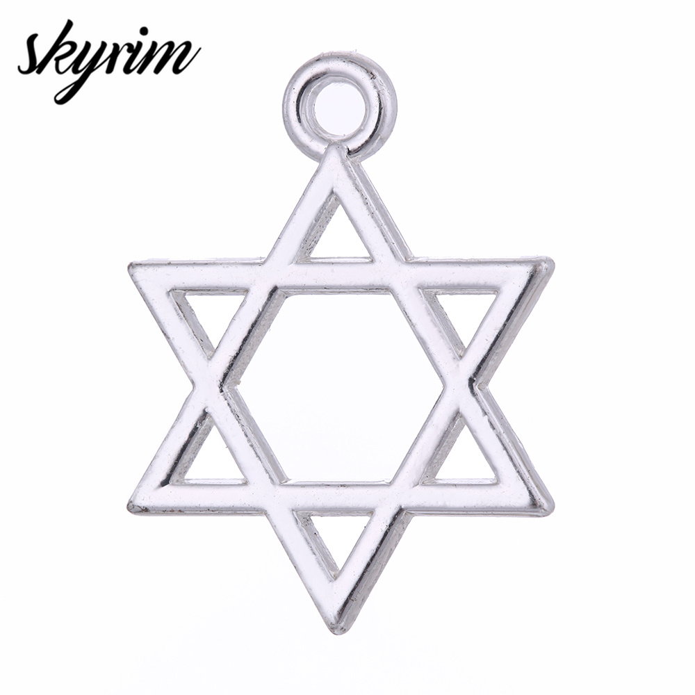 10Pcs Silver Star Of David Charm Pendant DIY Necklace Craftwork Making Jewelry