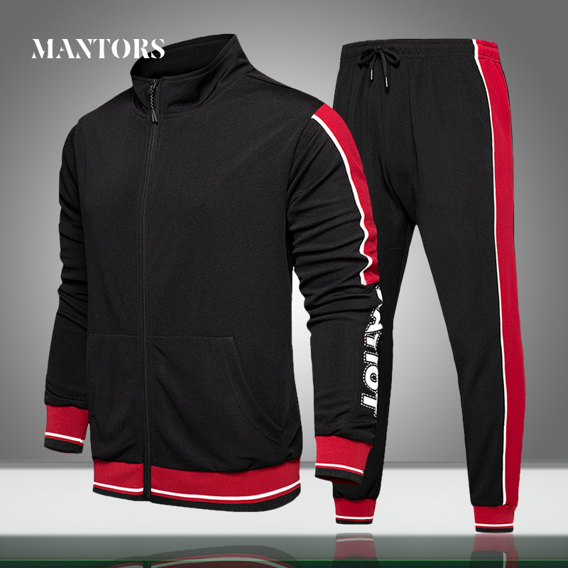 Men Tracksuit Set New Trend Spring Casual Sporting Suits Outwear Male Solid Splice Two Piece Sets Jackets+Sweatpants Clothing